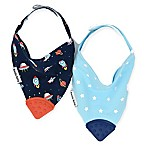 Bazzle Baby 2-Pack Space Cadet Banda Bibs With Teether in Blue