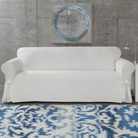 SUREFIT Cotton Canvas Wrinkle Resistant Sofa Slipcover in White