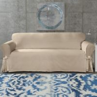 SUREFIT Cotton Canvas Wrinkle Resistant Sofa Slipcover in Sand
