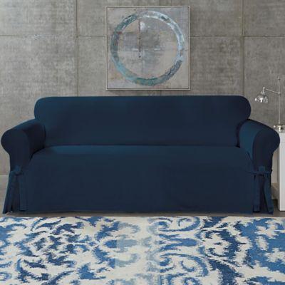 Superbe SUREFIT Cotton Canvas Wrinkle Resistant Sofa Slipcover In Navy