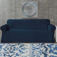 Surefit Cotton Canvas Wrinkle Resistant Sofa Slipcover In Navy