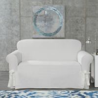 SUREFIT Cotton Canvas Wrinkle Resistant Loveseat Slipcover in White