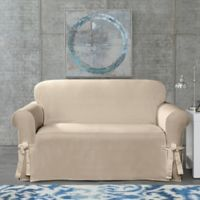SUREFIT Cotton Canvas Wrinkle Resistant Loveseat Slipcover in Sand