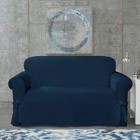 SUREFIT Cotton Canvas Wrinkle Resistant Loveseat Slipcover in Navy