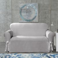 SUREFIT Cotton Canvas Wrinkle Resistant Loveseat Slipcover in Grey