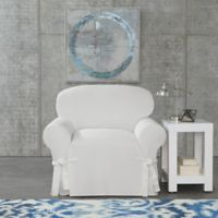 SUREFIT Cotton Canvas Wrinkle Resistant Chair Slipcover in White