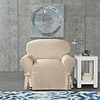 SUREFIT Cotton Canvas Wrinkle Resistant Chair Slipcover in Sand