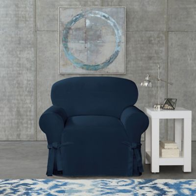 Exceptionnel SUREFIT Cotton Canvas Wrinkle Resistant Chair Slipcover In Navy