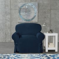 SUREFIT Cotton Canvas Wrinkle Resistant Chair Slipcover in Navy