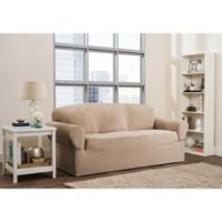 Smart Fit Roland 1-Piece Polyester Stretch Sofa Slipcover in Sand