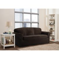 Smart Fit Roland 1-Piece Polyester Stretch Sofa Slipcover in Chocolate