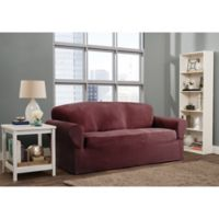 Smart Fit Roland 1-Piece Polyester Stretch Sofa Slipcover in Burgundy