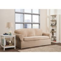 Smart Fit Roland 2-Piece Polyester Stretch Sofa Slipcover in Sand