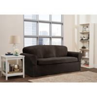 Smart Fit Roland 2-Piece Polyester Stretch Sofa Slipcover in Chocolate