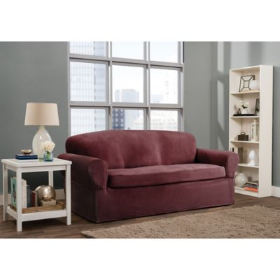 Smart Fit Roland 2 Piece Stretch Sofa Slipcover In Burgundy