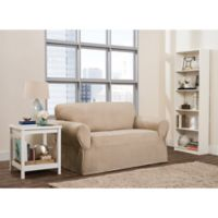 Smart Fit Roland 1-Piece Polyester Stretch Loveseat Slipcover in Sand