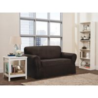 Smart Fit Roland 1-Piece Polyester Stretch Loveseat Slipcover in Chocolate