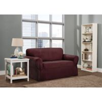 Smart Fit Roland 1-Piece Polyester Stretch Loveseat Slipcover in Burgundy