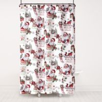 Vintage Santa 72-Inch x 70-Inch Shower Curtain and Hook Set