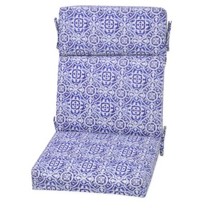 Medallion Outdoor High Back Chair Cushion In Blue