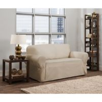 Smart Fit Parker 1-Piece Relaxed Cotton Loveseat Slipcover in Natural