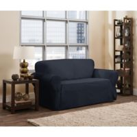 Smart Fit Parker 1-Piece Relaxed Cotton Loveseat Slipcover in Navy
