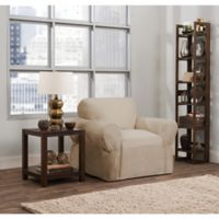 Smart Fit Parker 1-Piece Relaxed Cotton Chair Slipcover in Natural