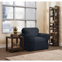 Smart Fit Parker 1-Piece Relaxed Cotton Chair Slipcover in Navy
