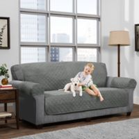 Smart Fit 3-Piece Reversible Suede Sofa Cover in Light Grey