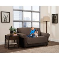 Smart Fit 3-Piece Reversible Suede Loveseat Cover in Mocha