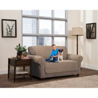 Smart Fit 3-Piece Reversible Suede Loveseat Cover in Tan