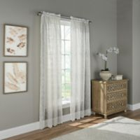 Scroll Embroidery 108-Inch Rod Pocket Sheer Window Curtain Panel in Ivory