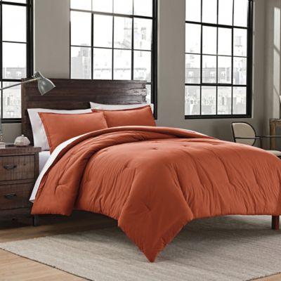 Garment Washed Solid Full/Queen Comforter Set In Burnt Orange