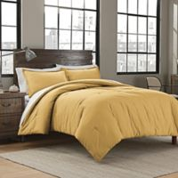 Garment Washed Solid King Comforter Set in Mustard
