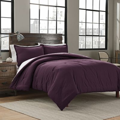 Garment Washed Solid King Comforter Set In Plum