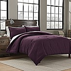 Garment Washed Solid Full/Queen Comforter Set in Plum