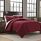 Garment Washed Solid King Comforter Set in Maroon