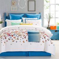 Butterfly Garden King Duvet Cover Set in White