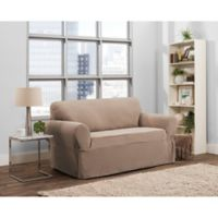 Smart Fit Tinsley 1-Piece Stretch Loveseat Slipcover in Taupe