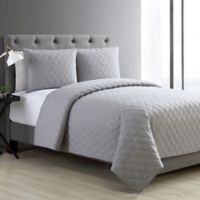 VCNY Home Buckingham Quilted Diamond Full/Queen Coverlet Set in Grey