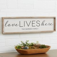 """Love Lives Here"" 30-Inch x 8-Inch Barnwood Frame Wall Art"