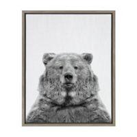 European Bear 18-Inch x 24-Inch Framed Wall Art in Grey
