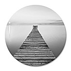 Footbridge Sea Bench 30-Inch Round Wrapped Canvas Wall Art