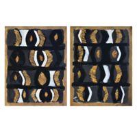 Iris 18-Inch x 14-Inch Wooden Wall Art (Set of 2)