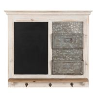 Kate and Laurel Idamae Wooden Chalkboard Organizer with Hooks in White