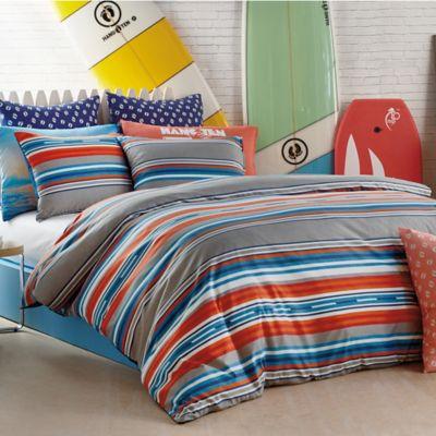 Delightful Hang Ten Surfer Stripe Full/Queen Comforter Set In Grey
