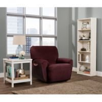 Smart Fit Roland 4-Piece Stretch Polyester Recliner Slipcover in Burgundy