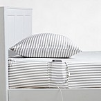 330-Thread Count Cotton Ticking Stripe Twin/Twin XL Sheet Set in Grey
