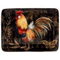 Certified International Gilded Rooster Rectangle Platter