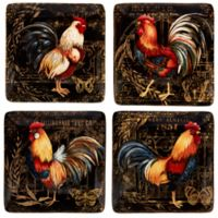 Certified International Gilded Rooster Canape Plates (Set of 4)